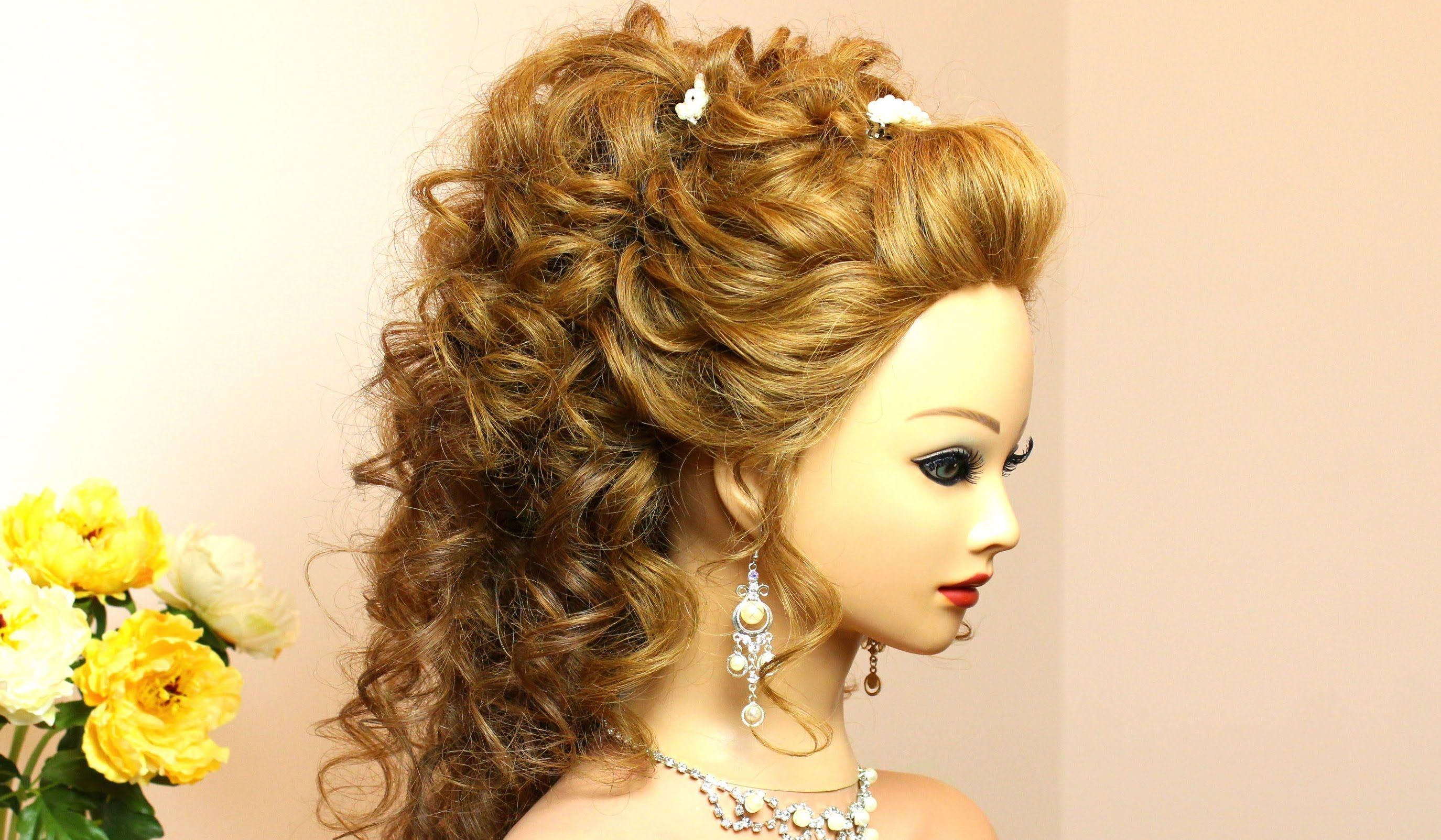 Curly prom wedding hairstyle for long hair