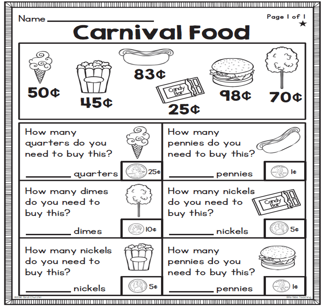 This Is A Freebie Sample Of Differentiated Worksheets Found In The 1st Grade Money Unit The