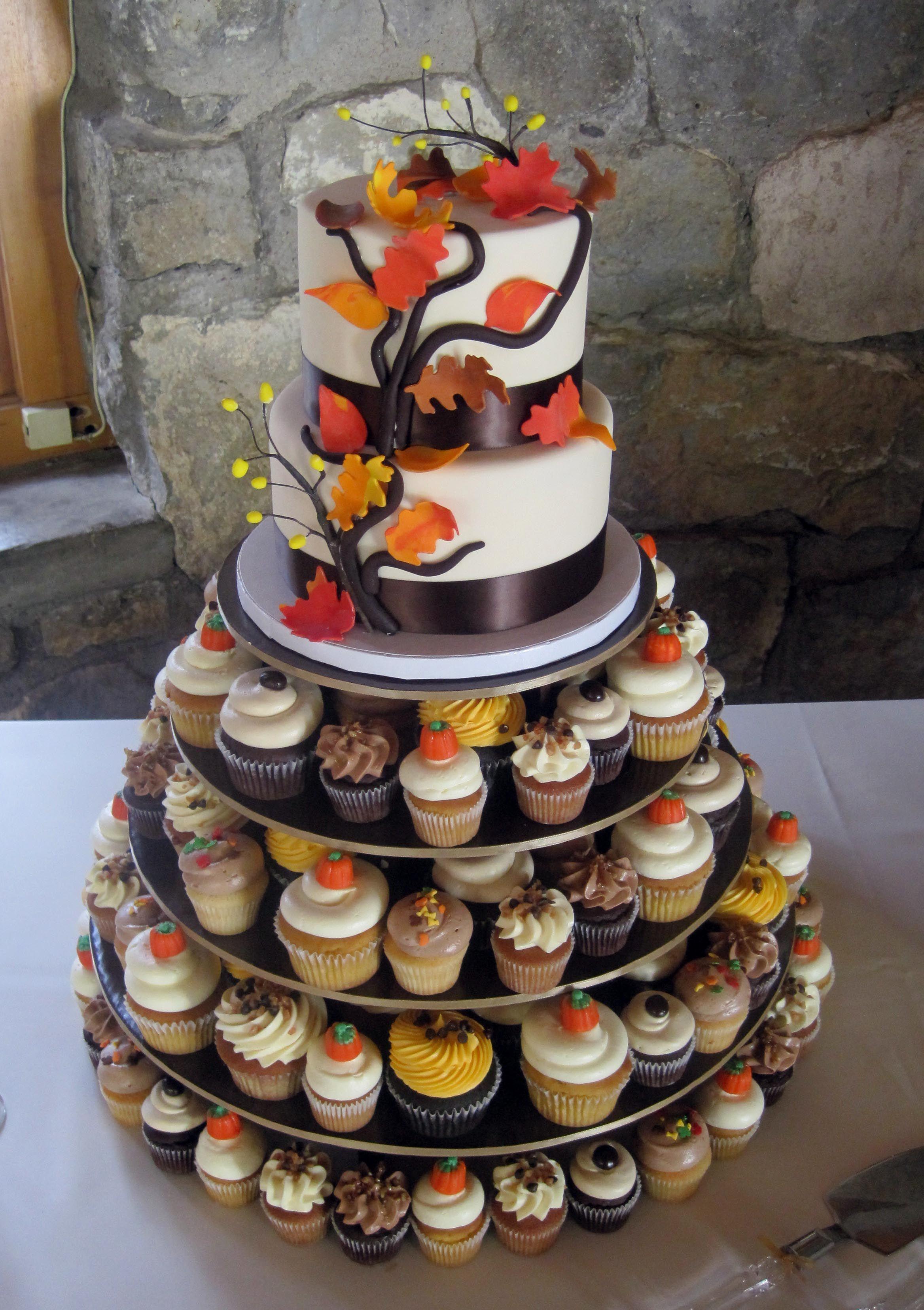 2 Tier Autumn Cutting Cake Amp Assorted Cupcakes