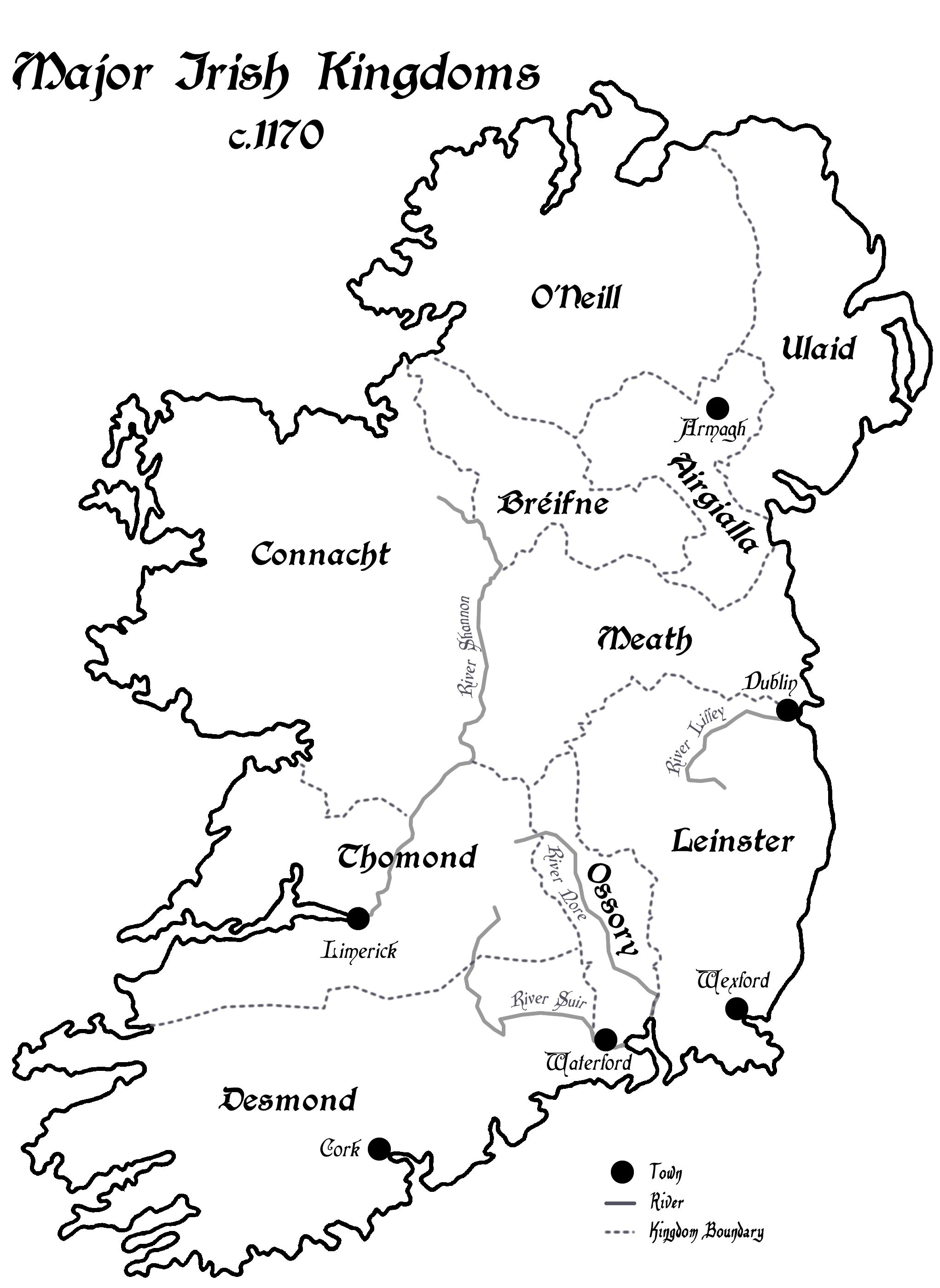 A Map Of Ireland S Rival Kingdoms C