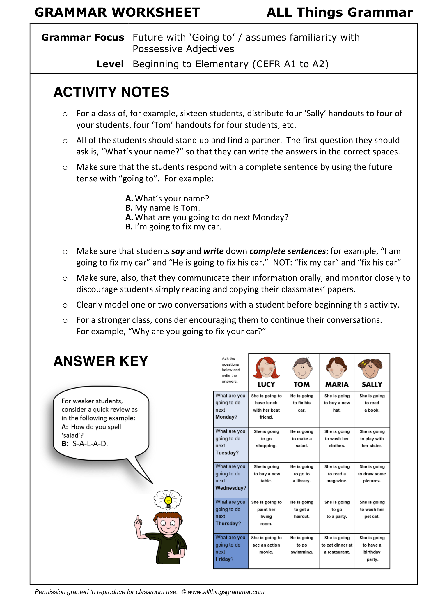 English Grammar Worksheet Info Gap Grammar Focus Future With Going To Assumes Familiarity