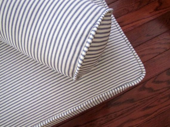 Piped Daybed Mattress Cover Blue Ticking Stripe Slipcover Custom Slipcovers Corded French