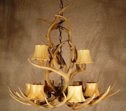 Mule Deer Cascade Real Antler Chandelier Lamps 35x34 Ebay