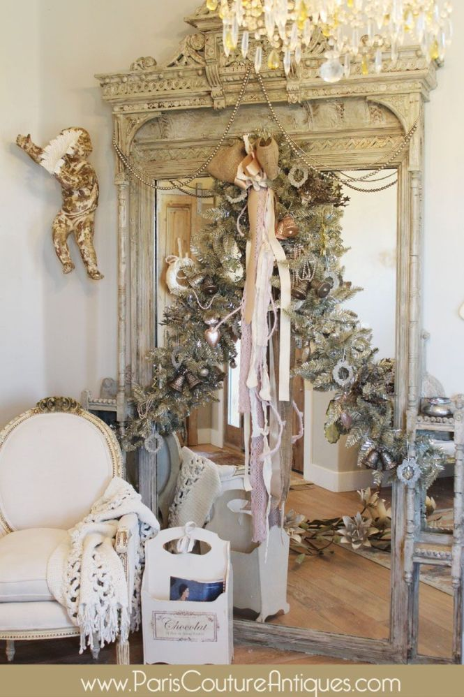 Antique Vintage Shabby Chic Chandelier French Architectural Pink Garland Crown Bells Swag Silver Angel Sock Pearls