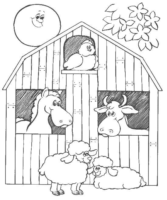 colouring pages barns and animals on pinterest