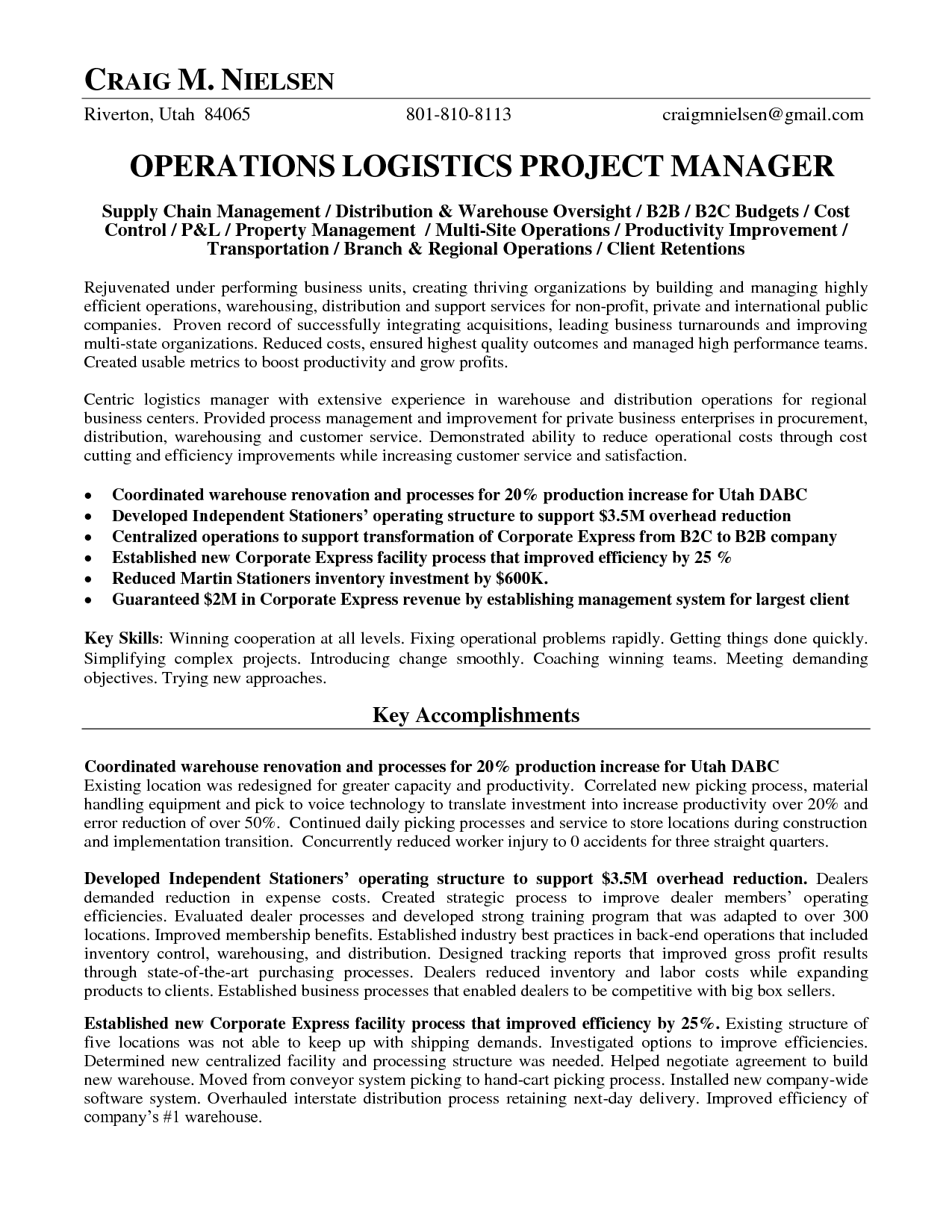Facilities Manager Cover Letter Distribution Coordinator