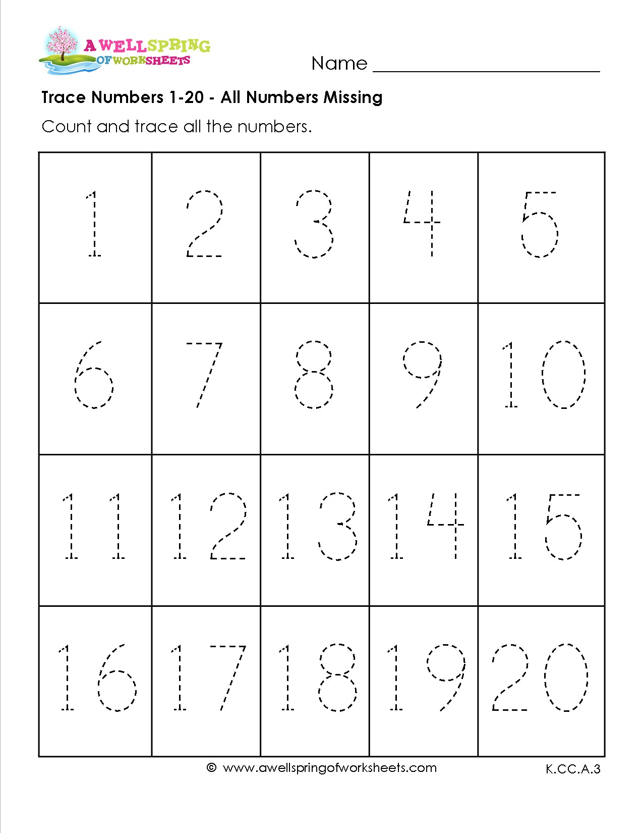Trace Numbers 1 20 In These Six Number Tracing Worksheets