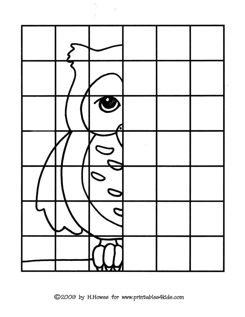 owl complete the picture drawing  printables for kids