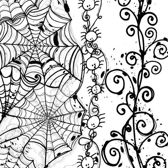 Halloween ClipArt Spider Web Borders Hand Drawn by