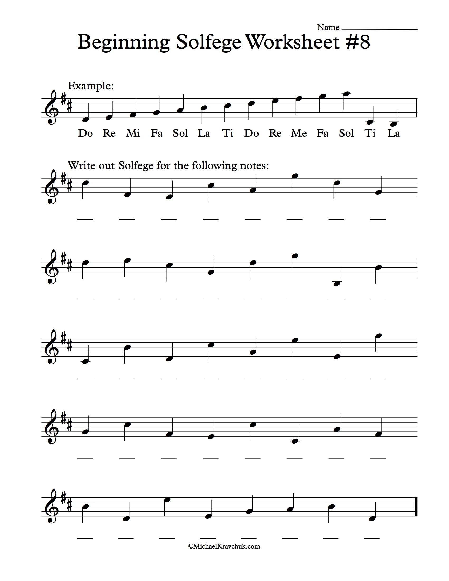 Beginning Solfege Worksheet 8 For Classroom Instructions