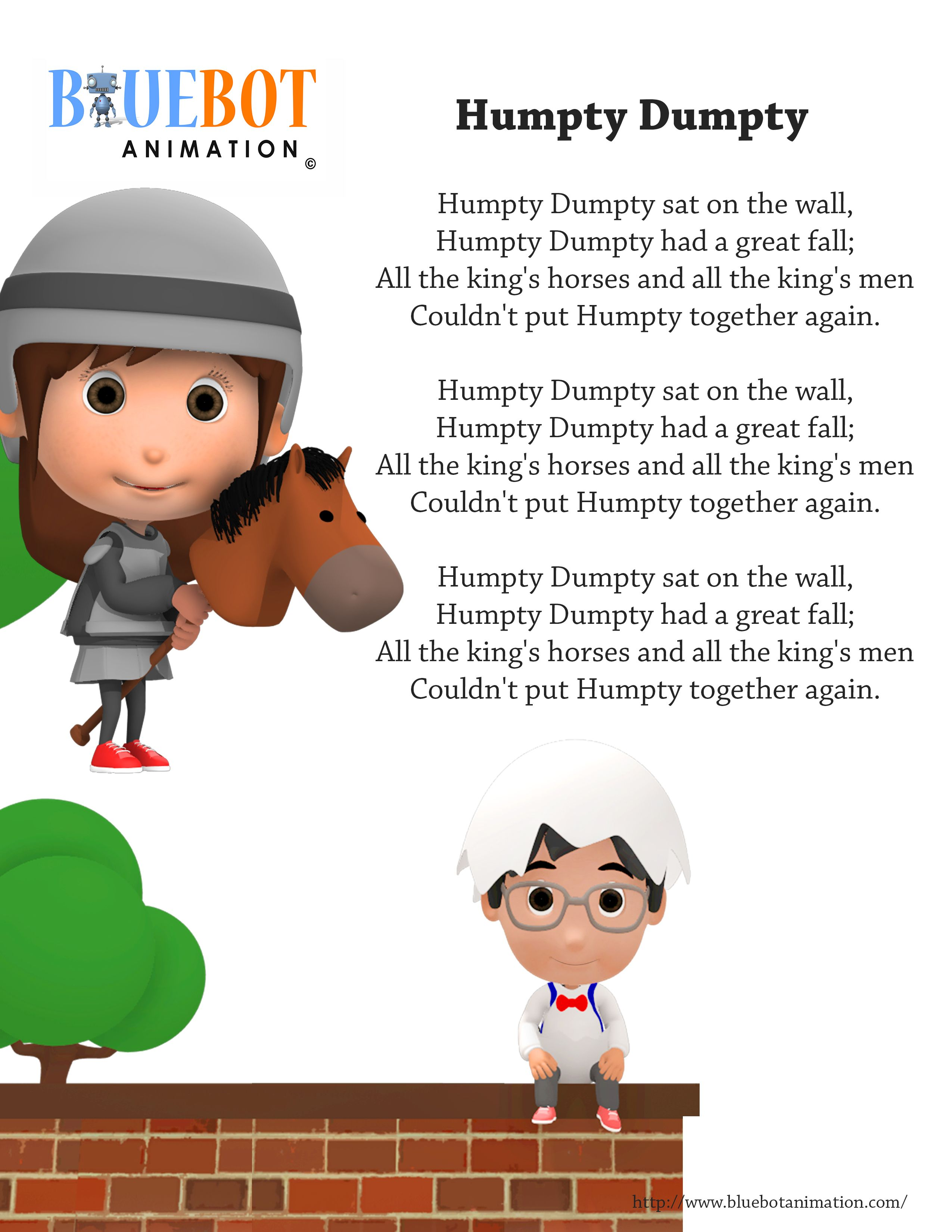 Humpty Dumpty Sat On The Wall Nursery Rhyme Lyrics Free