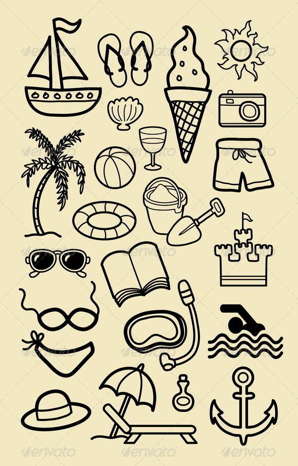 Summer Beach Icon Sketches Beach icon, Vector program