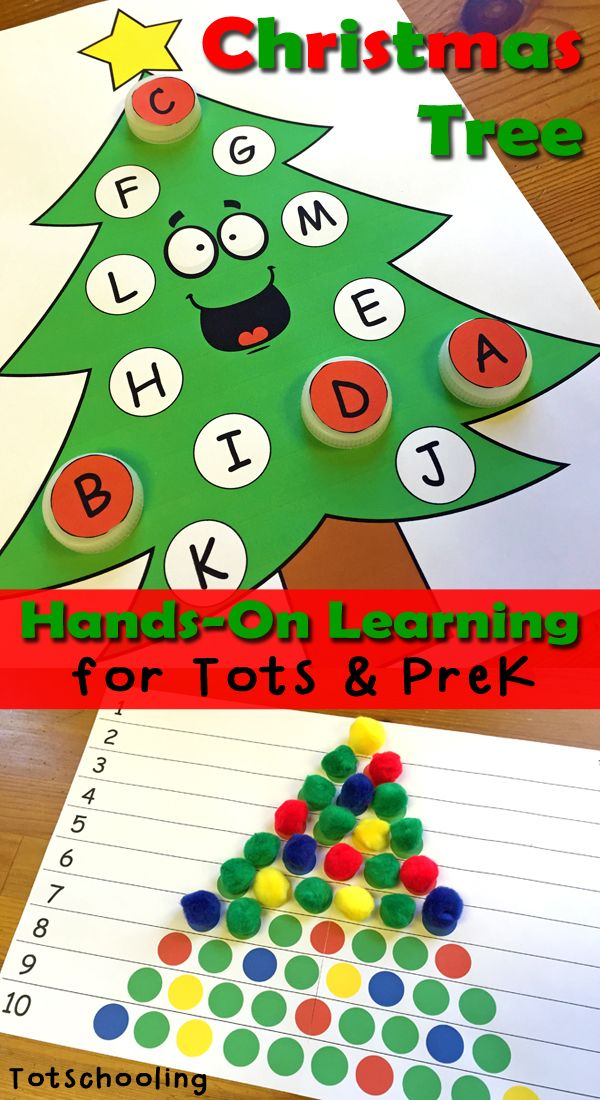 Christmas Tree Learning Activities for Toddlers & PreK