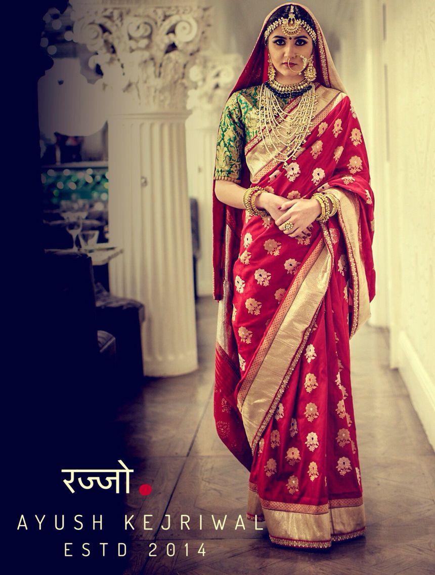Vintage red bridal saree by Ayush Kejriwal For purchases