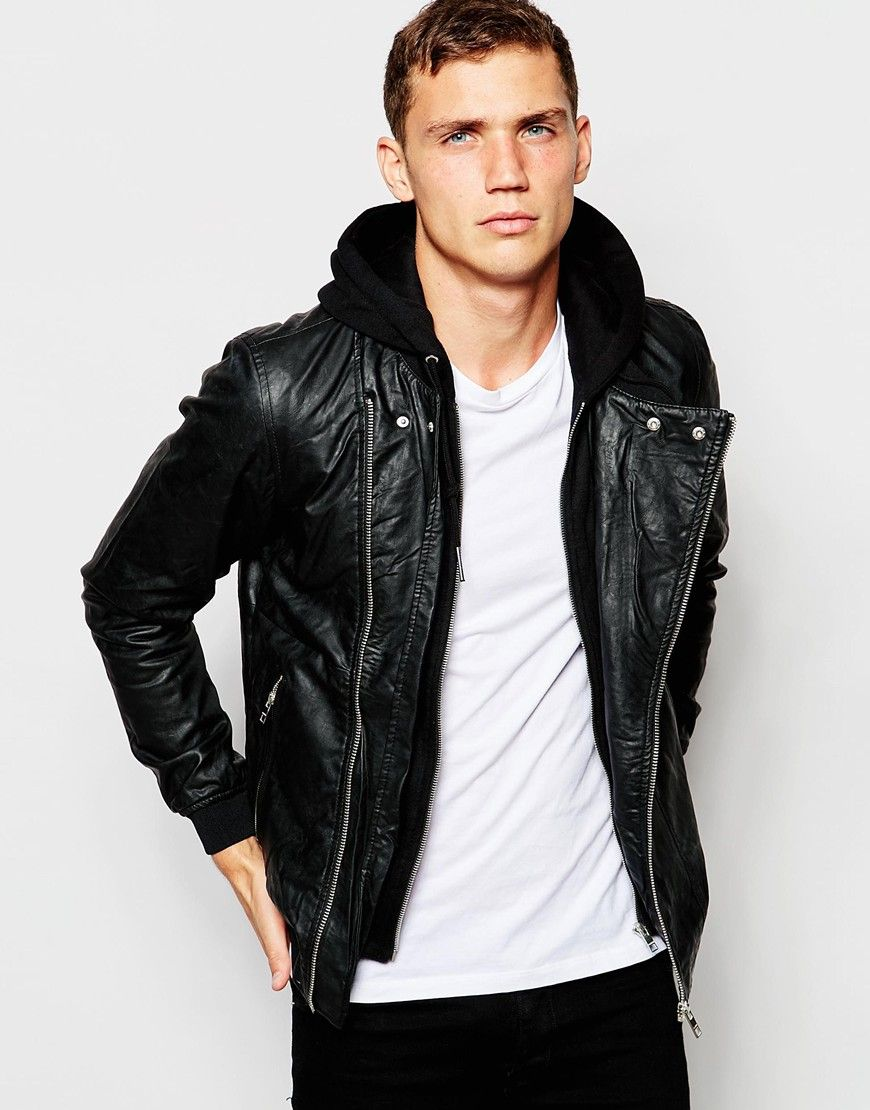 Image 1 of Pull&Bear Hooded Faux Leather Jacket D73