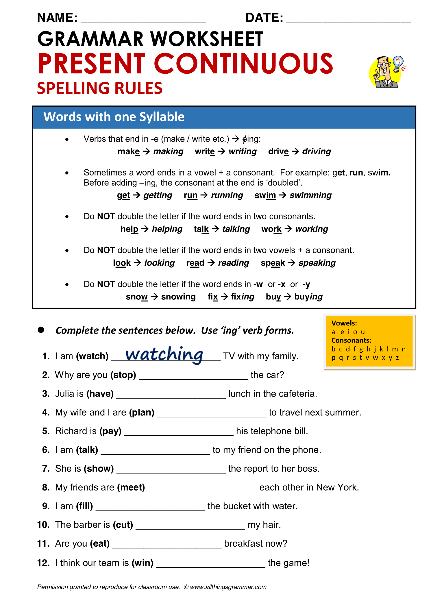 English Grammar Present Continuous Spelling Rules Words With One Syllable Lthingsgrammar