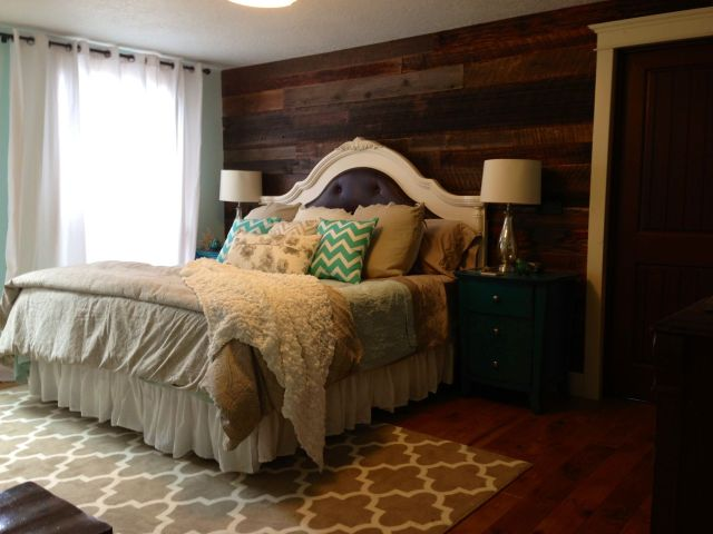 My new master bedroom Barn wood walls teal night stands chevron