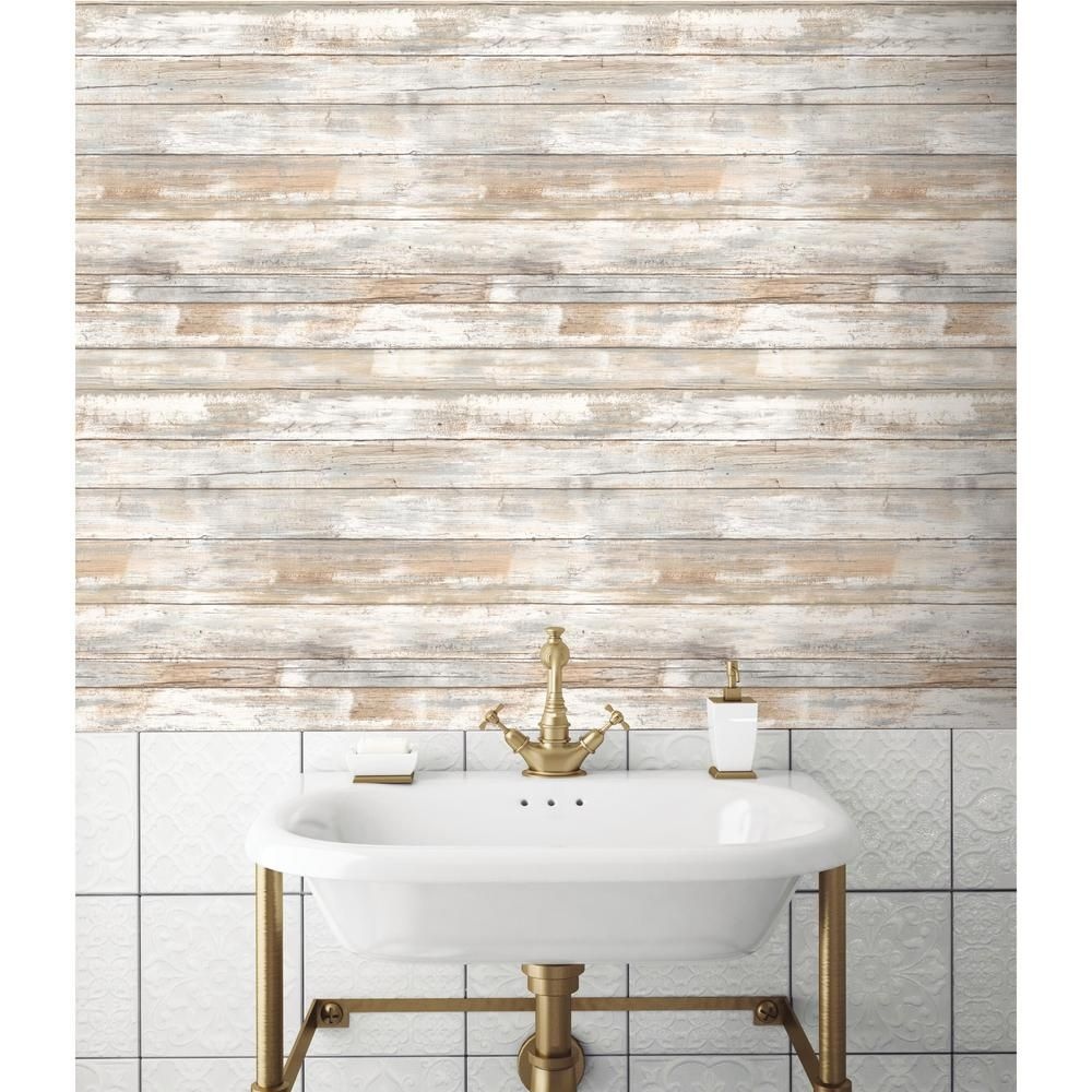 28.18 sq. ft. Distressed Wood Peel and Stick Wall Decor