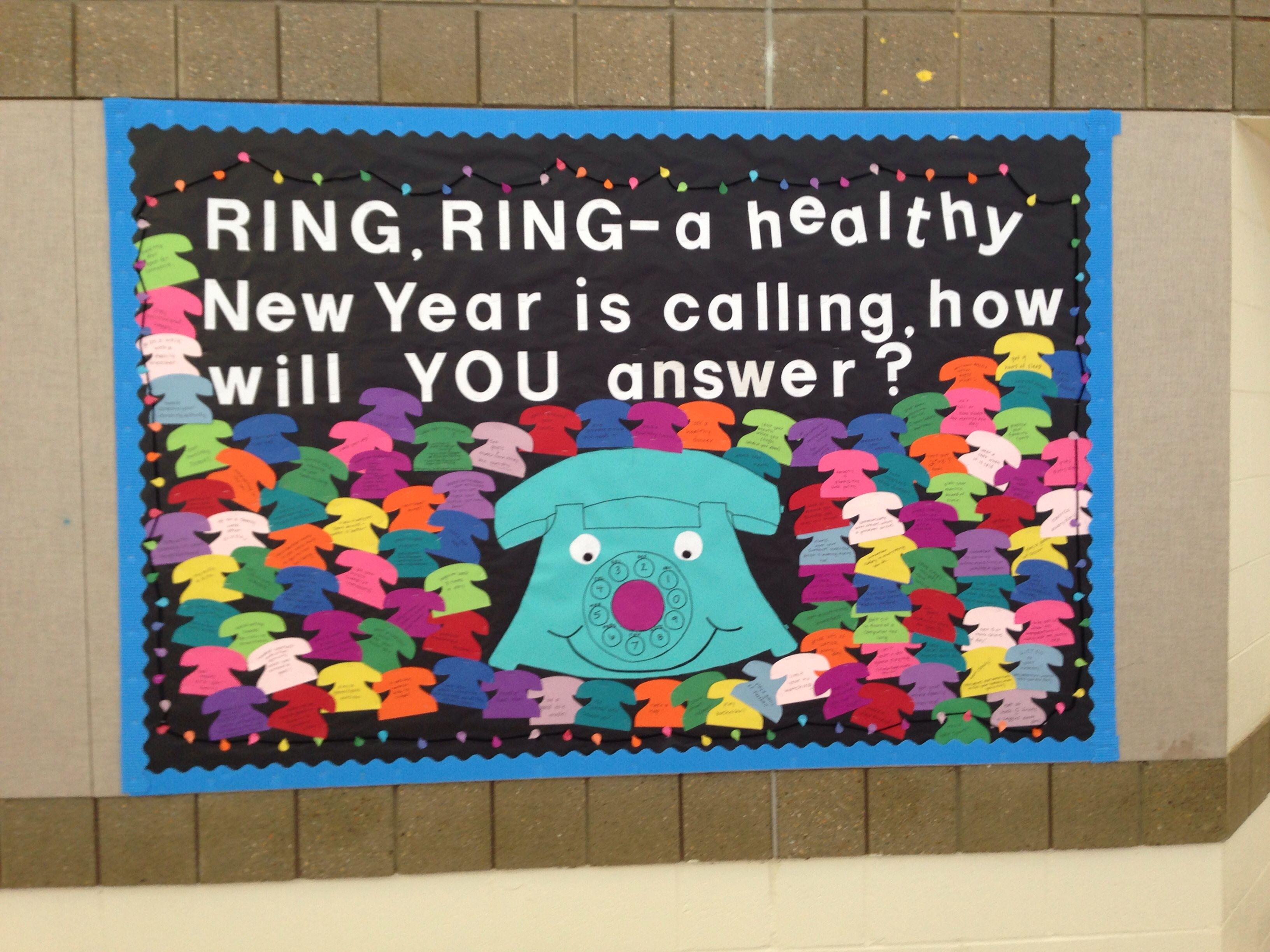 New Year health/PE bulletin board each phone has a