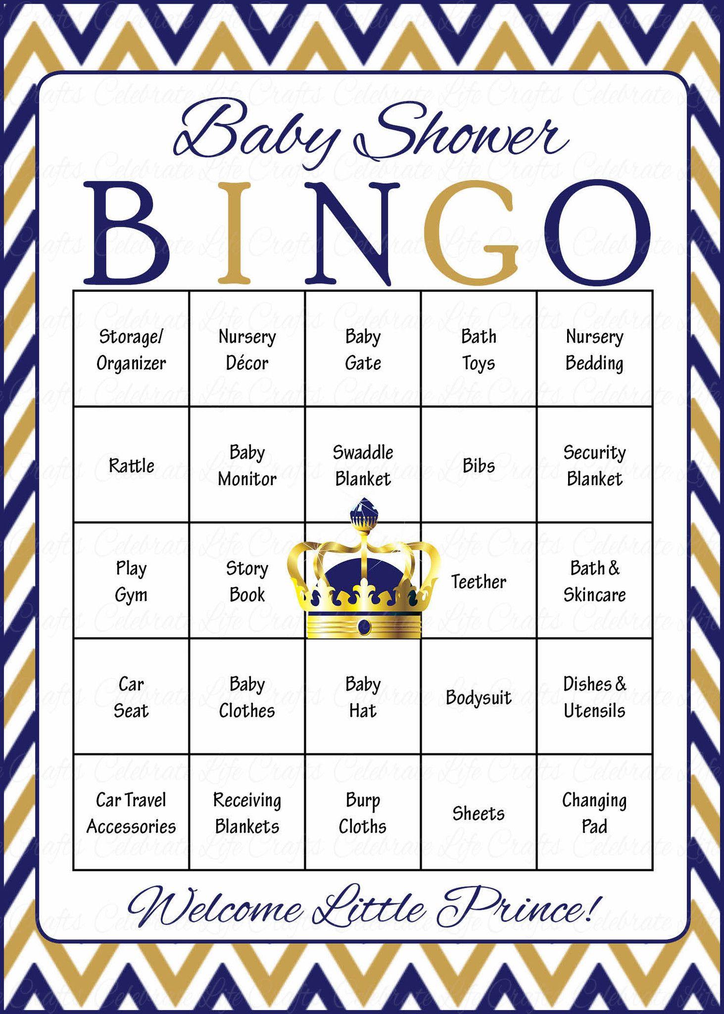 Prince Baby Bingo Cards