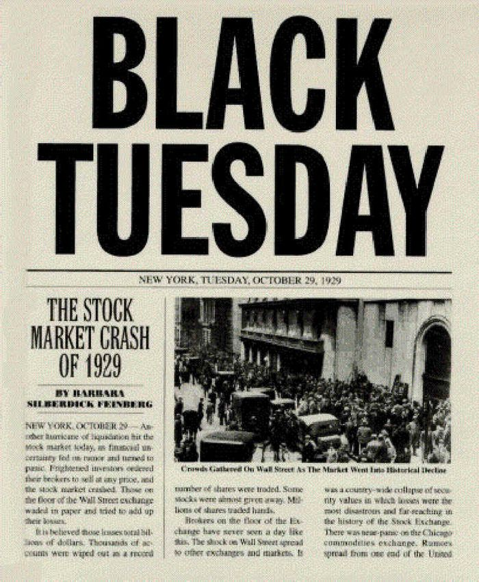 Black Tuesday signaled the beginning of a tenyear