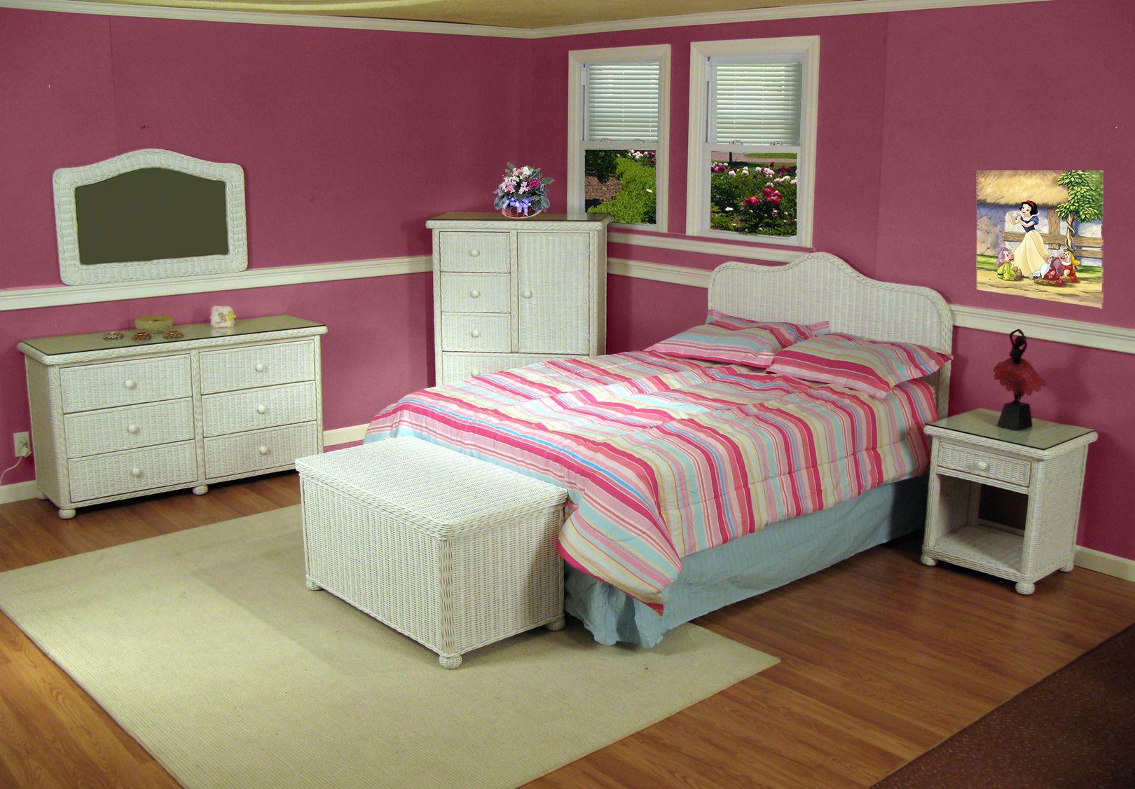 Bedroom Wicker Furniture Elana Classic Bedroom Set white