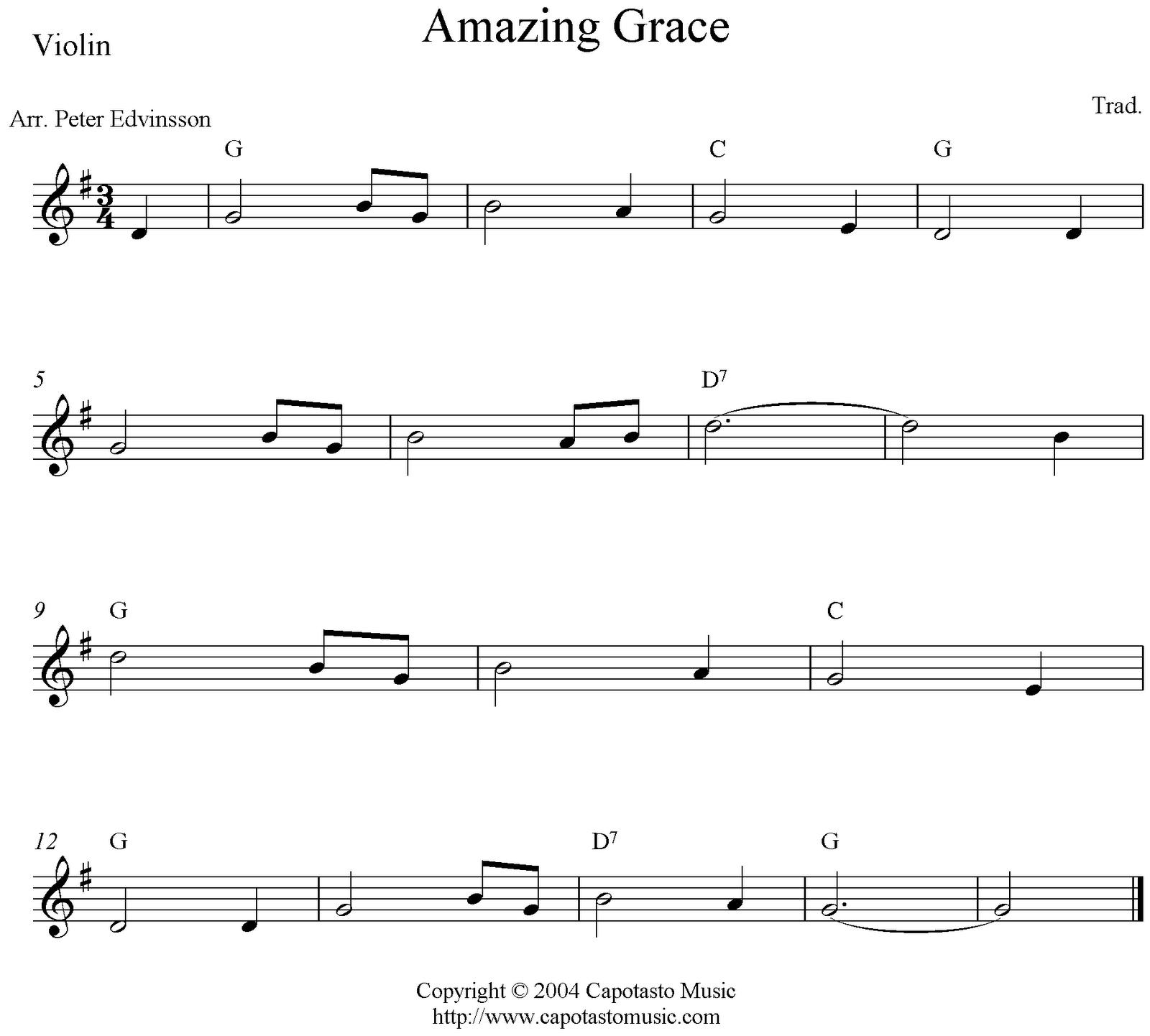 Amazing Grace Sheet Music For Guitar