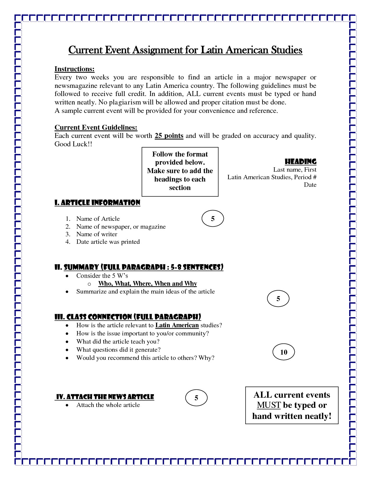 Current Events Homework Template