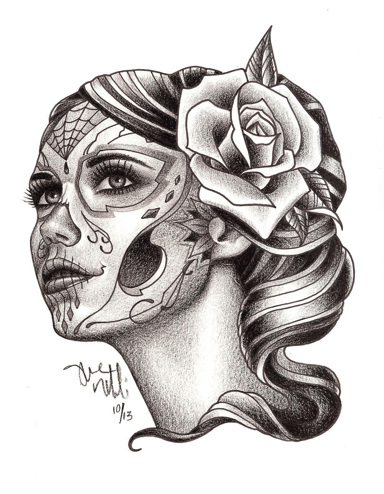 Dia de Los Muertos Girl Tattoo Drawing Real Photo