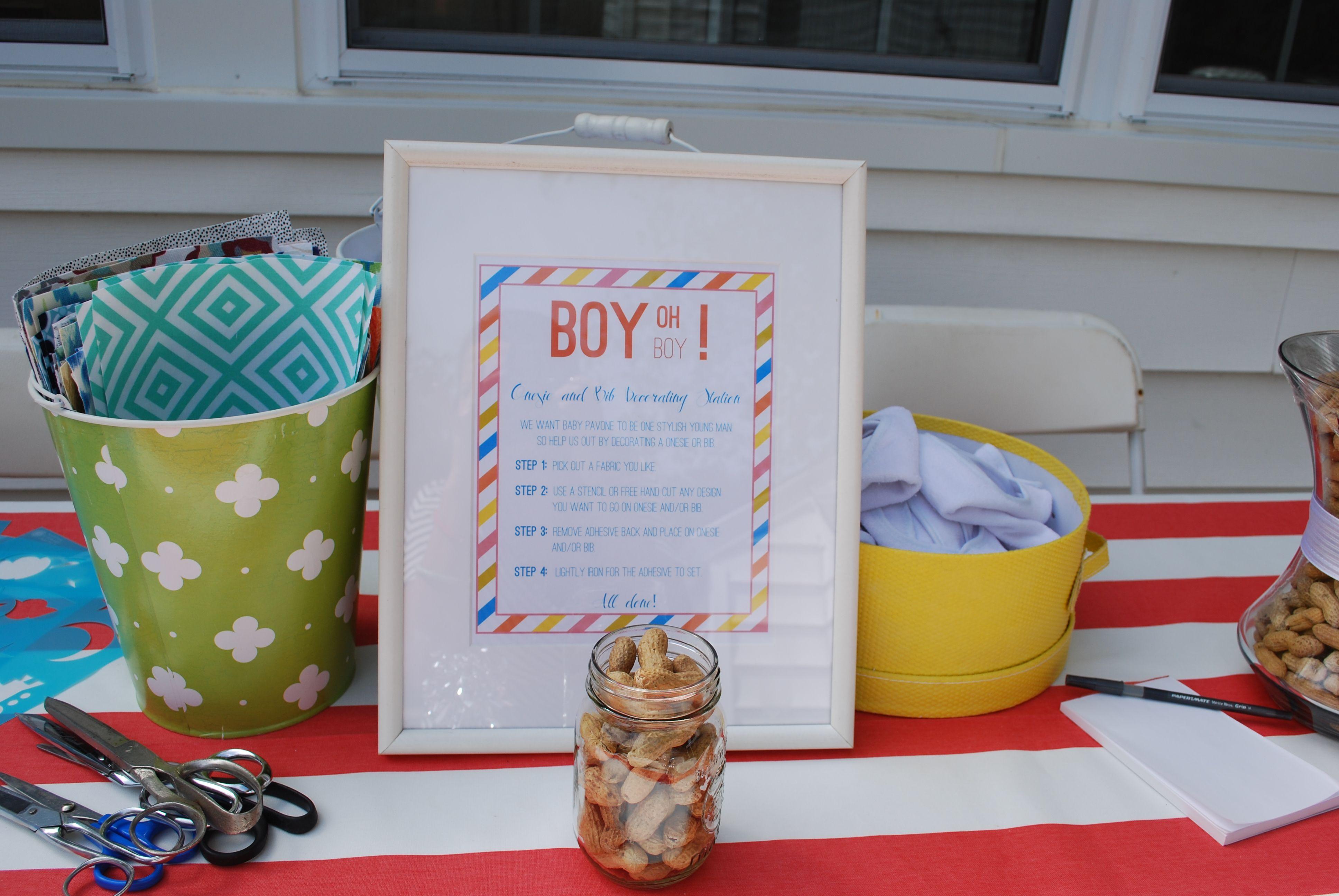 Baby Shower Idea Onesie And Bib Decorating Station