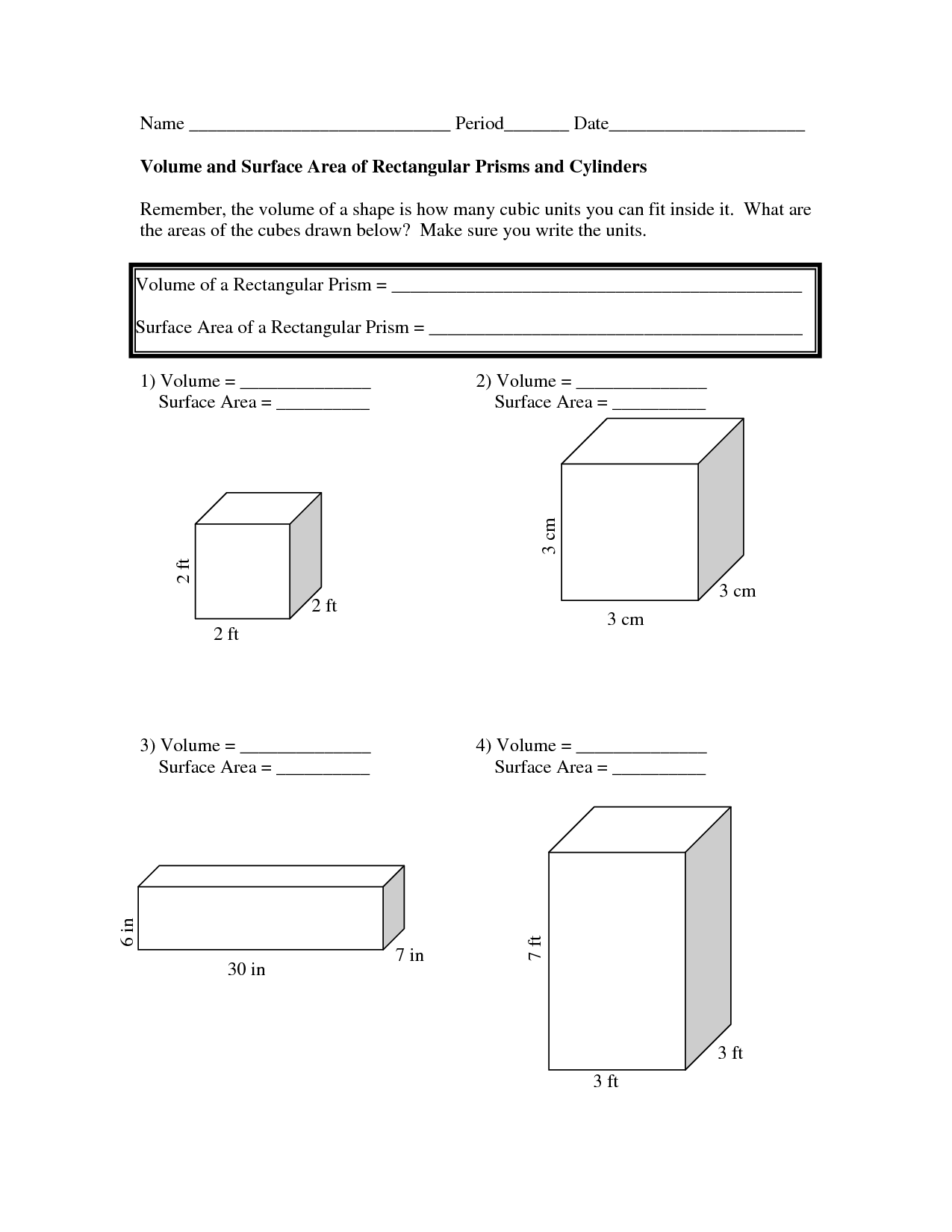 Volume And Surface Area Worksheets