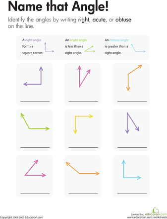 Geometry Name That Angle! Worksheets, Math and Math