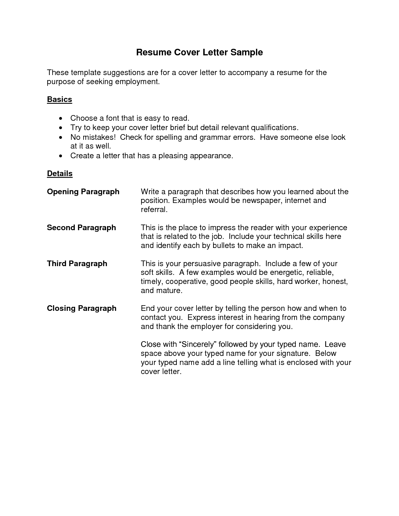 Template Cover Letter For Resume Microsoft