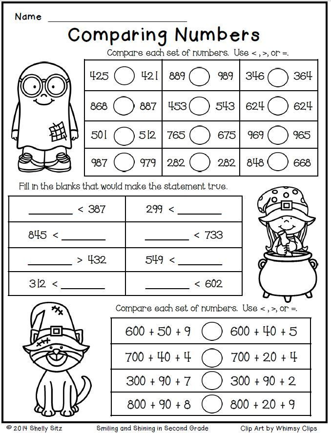 Halloween Math for Second NumbersFree