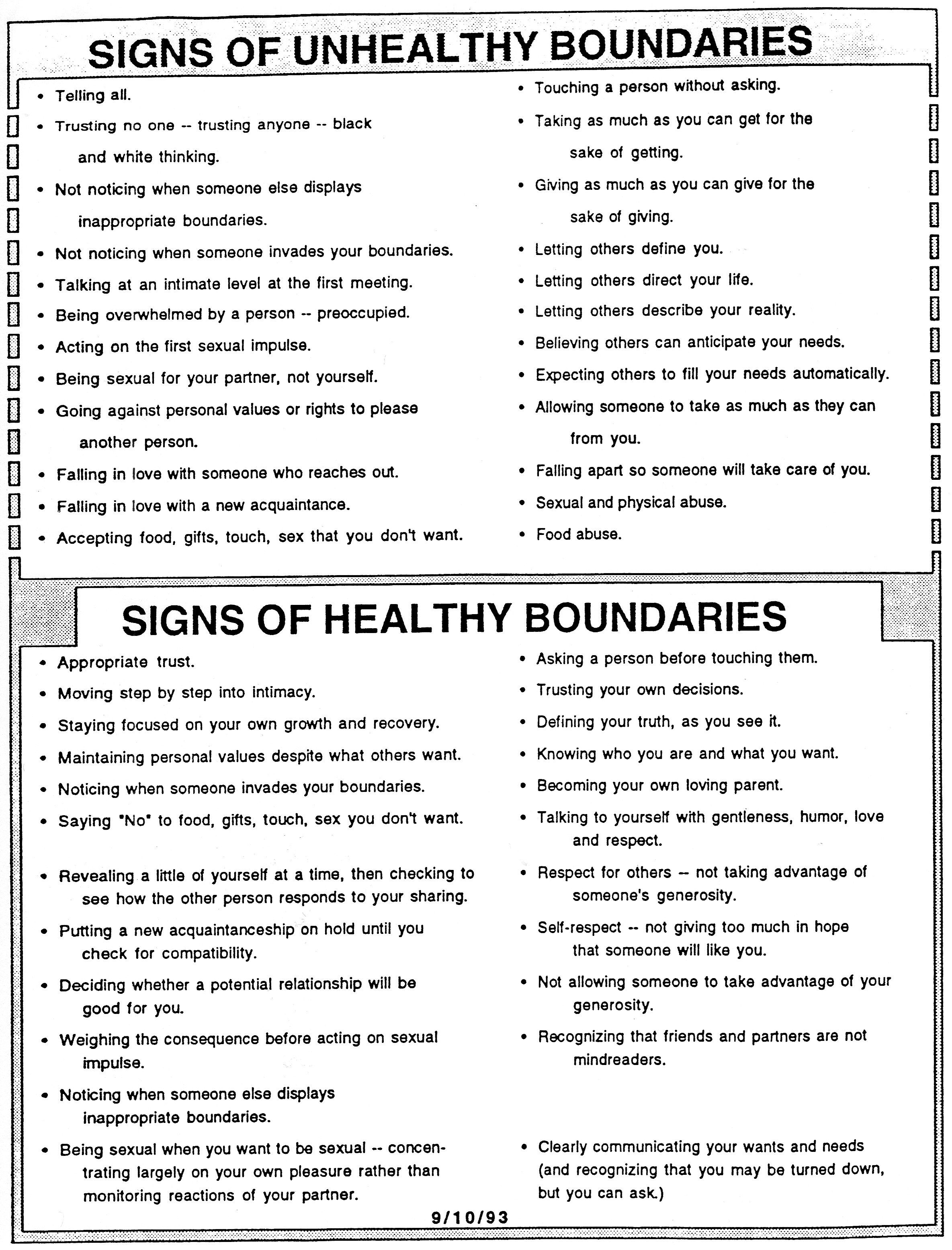 Healthy Boundaries Vs Unhealthy Boundaries