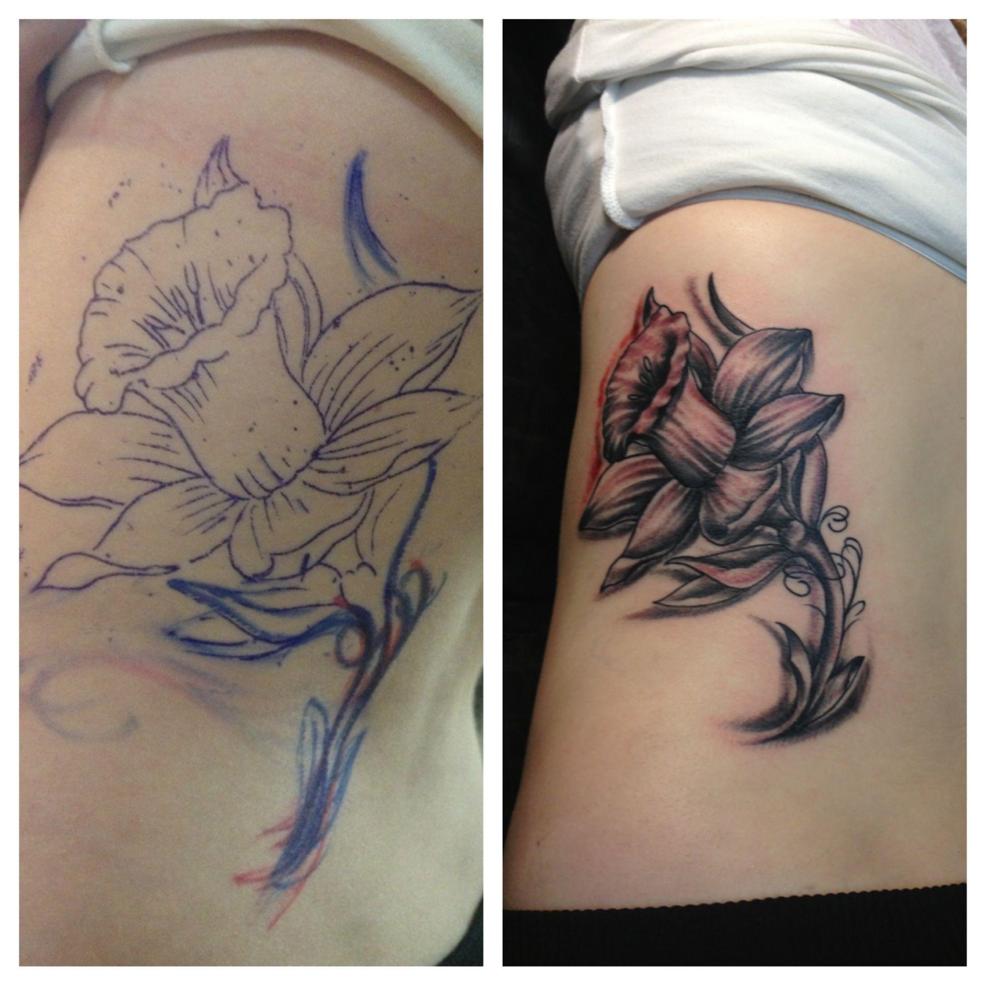 Stencil and after daffodil tattoo Tattoos Pinterest