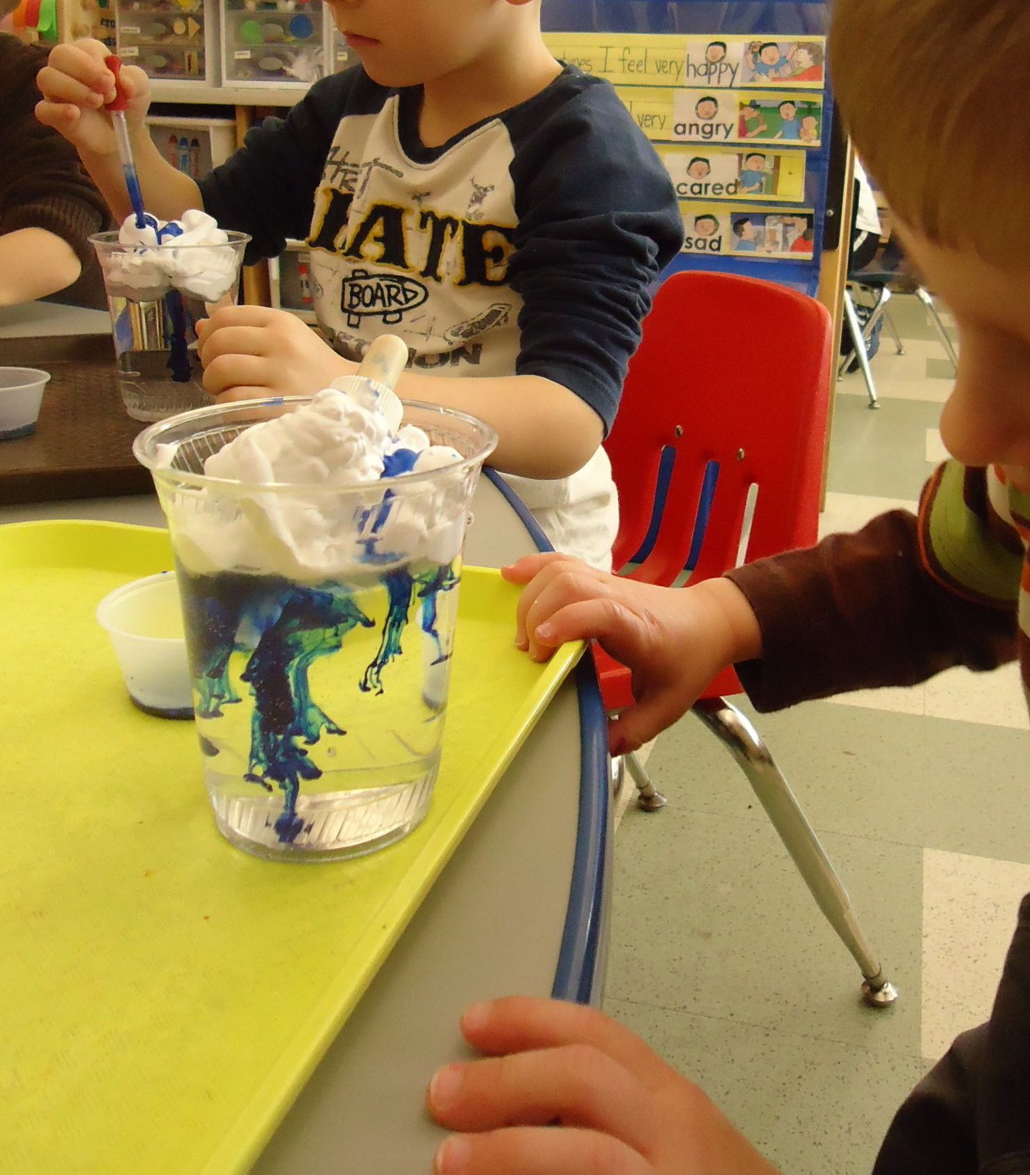 Preschool Make It Rain Shaving Cream Blue Food Coloring Eye Dropper And A Glass Of Water