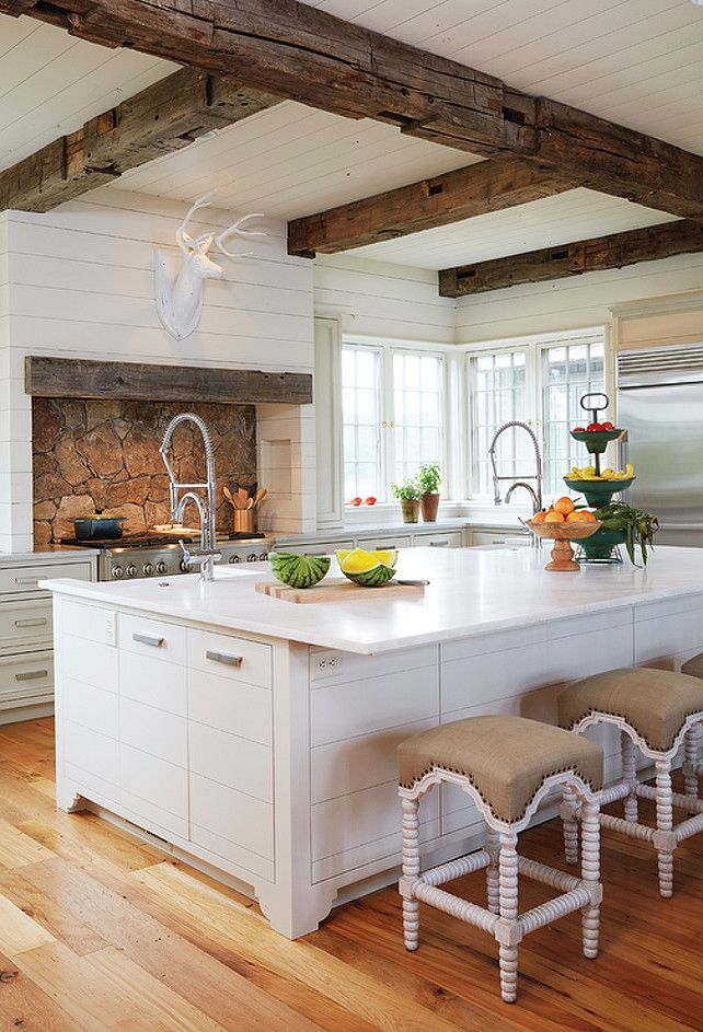 Country Kitchen with Wooden Beam Ceiling. Country kitchen