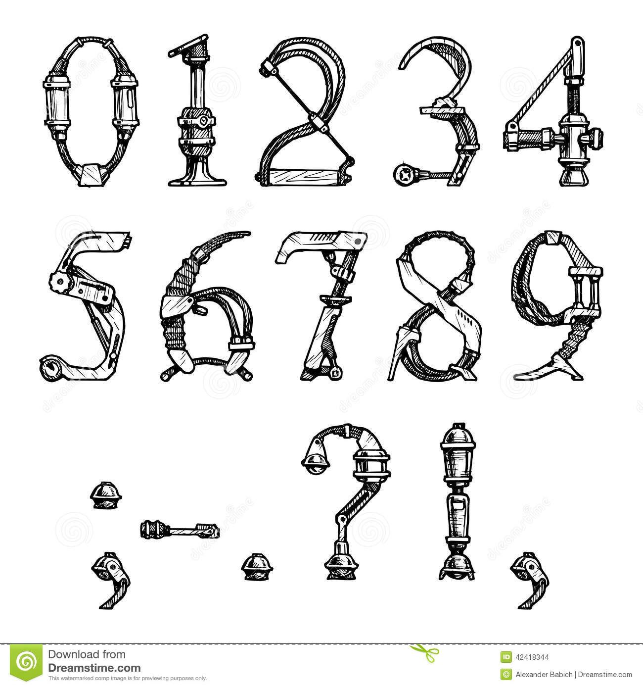Steampunk Font Letter Made Different Technical Pieces