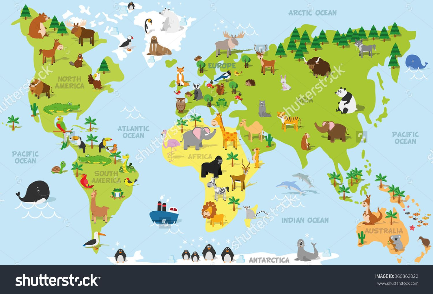 Funny Cartoon World Map With Traditional Animals Of All