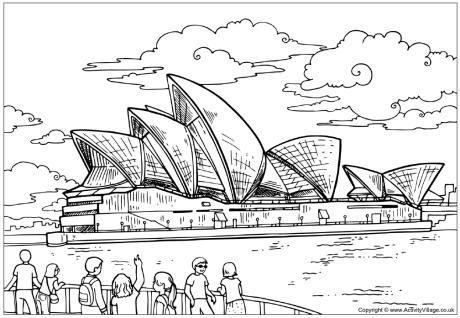 sydney opera house colouring page free printable australian