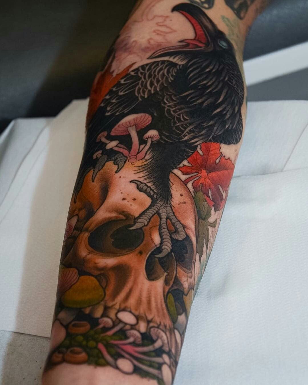 Tattoo done by Peter Lagergren raven cuervo