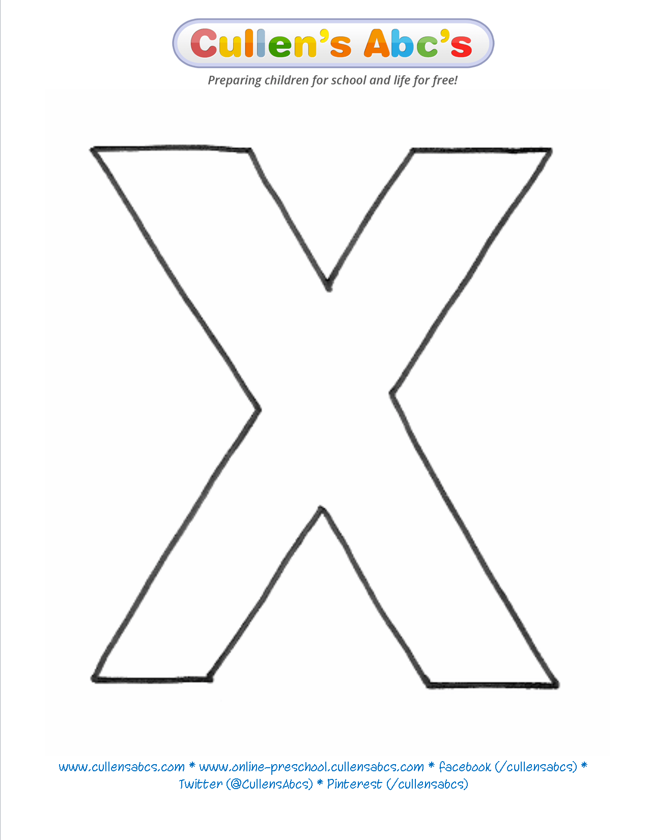Uppercase Letter X Pattern Cullen S Abc S Free Online