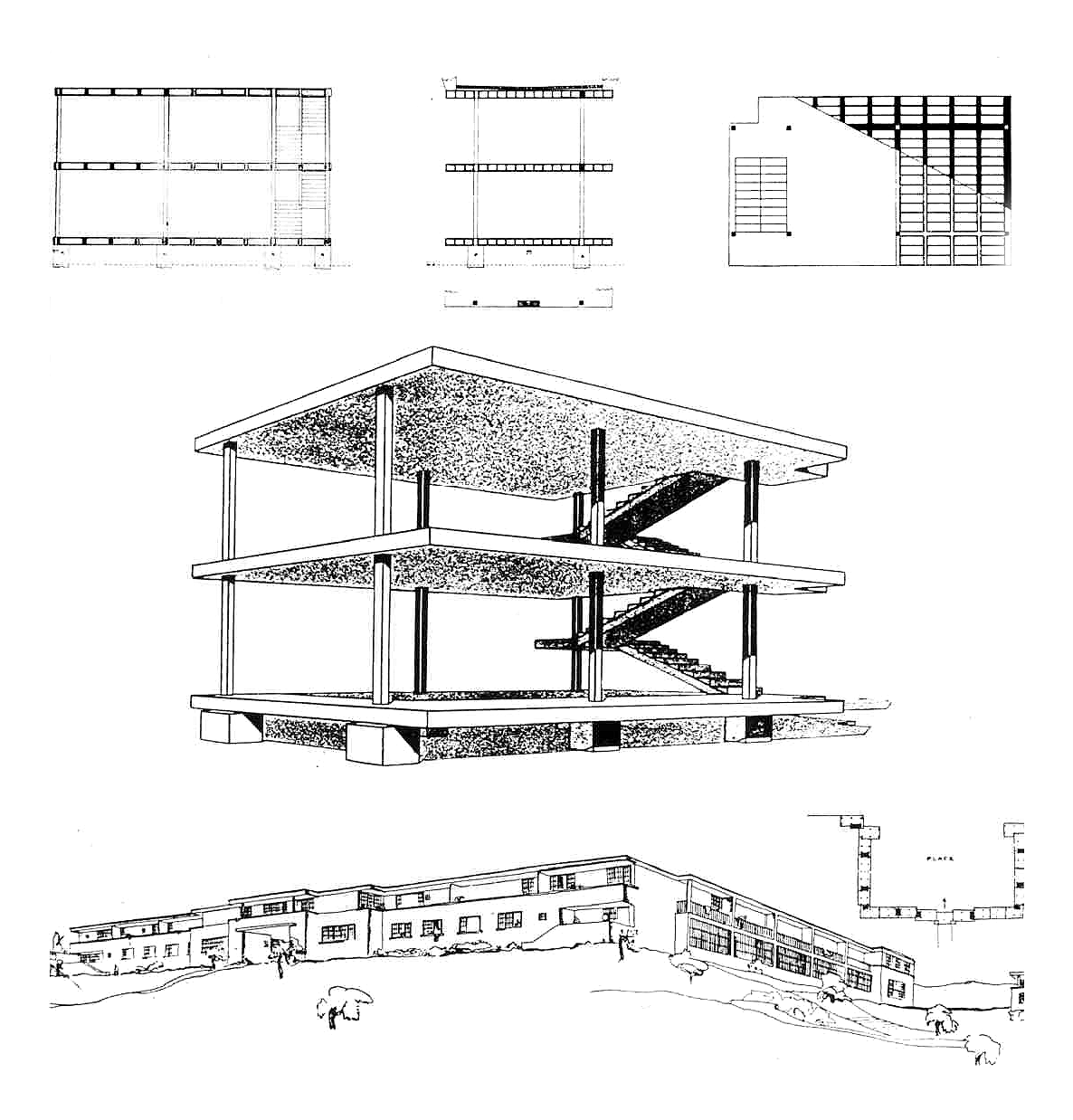 Le Corbusier Domino System Cantilevered Slab On Pilotis