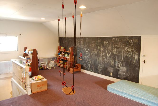 A Very Functional Rumpus Room Place For Kids To Draw Swing Climb
