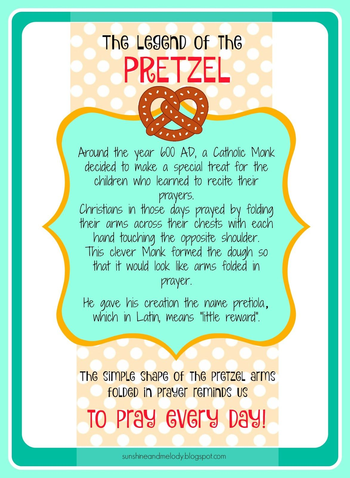 Pretzels And Prayer Activity The Legend Of The Pretzel