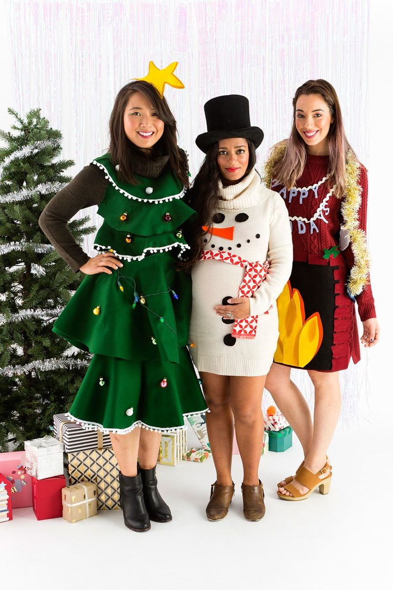 Skip the Sweater and DIY an Ugly Sweater Dress This