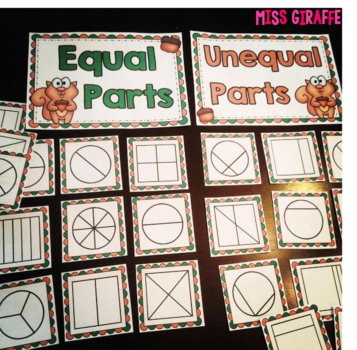 Fractions In First Grade Practing Equal Shares By Sorting Shapes With Equal Parts And Unequal