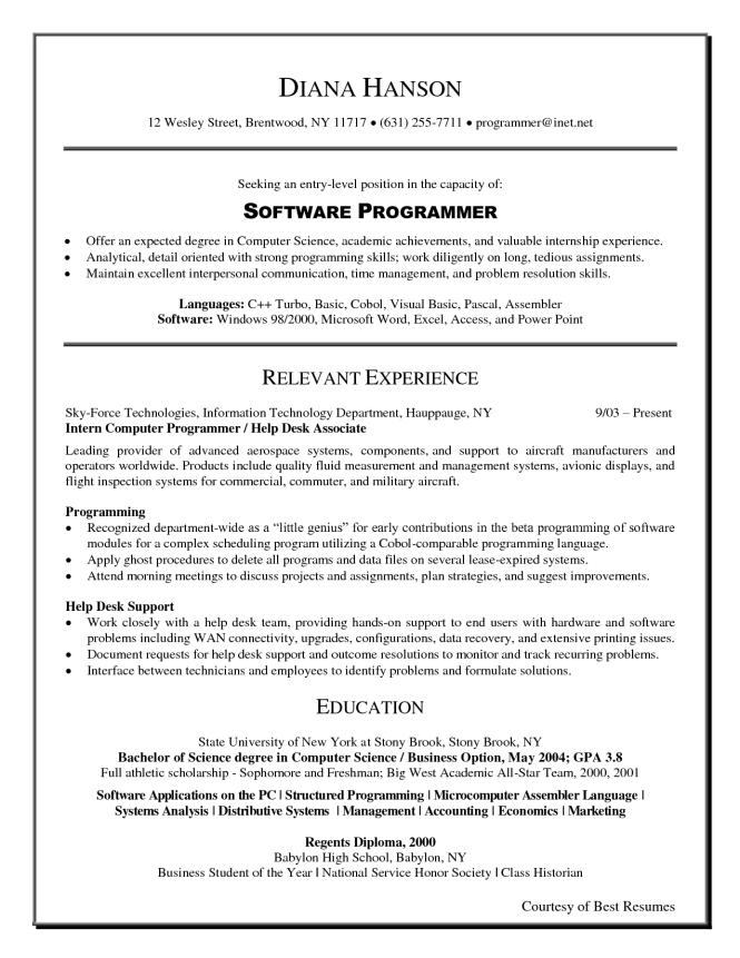 software programmer resume