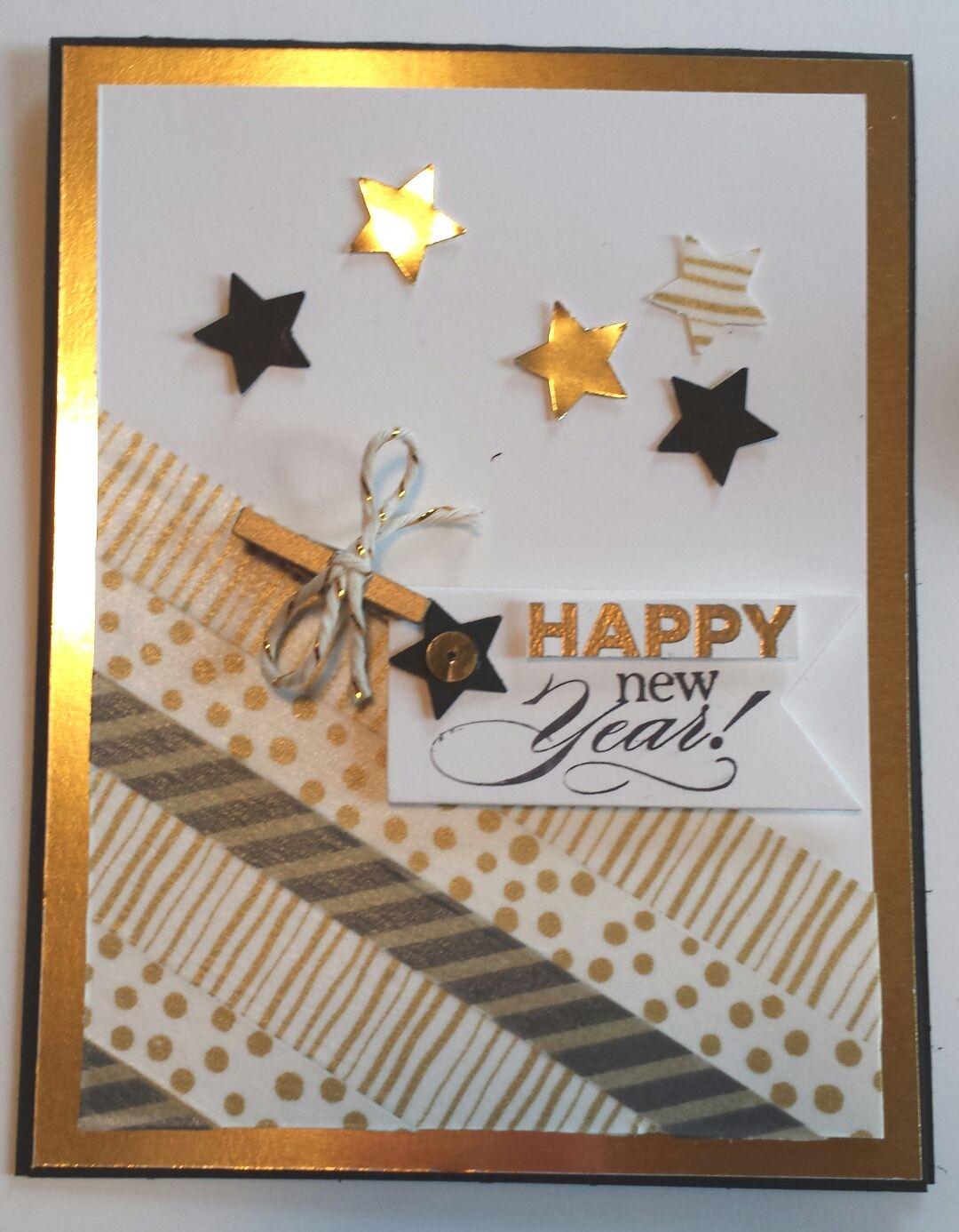 Stampin' Up Happy New Year card. Delightful dozen stamp